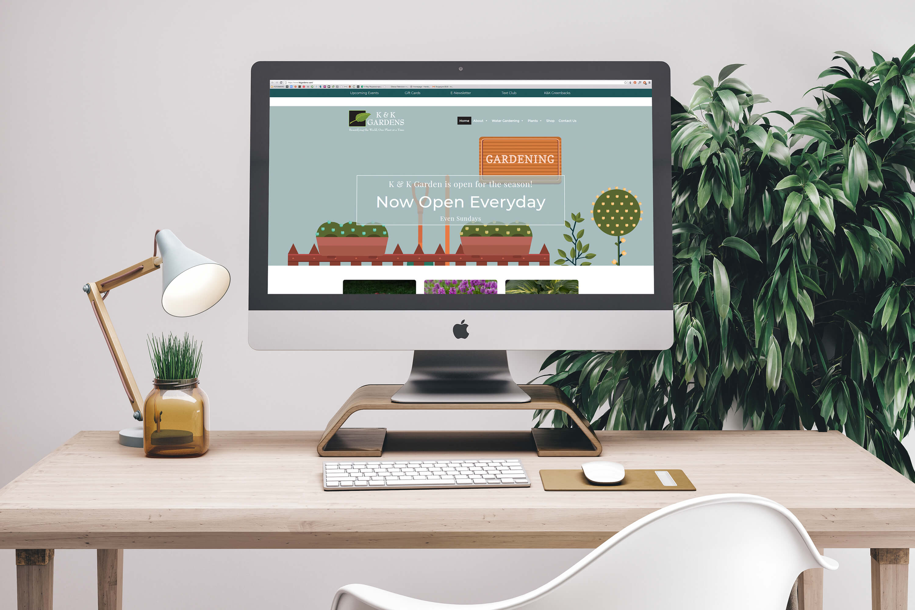 K&K Gardens's website on computer and laptop