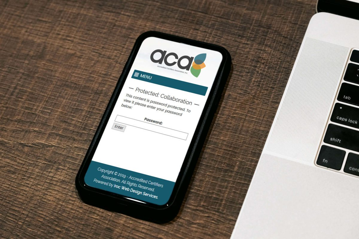 Accredited Certifiers Association's mobile website on smart phone