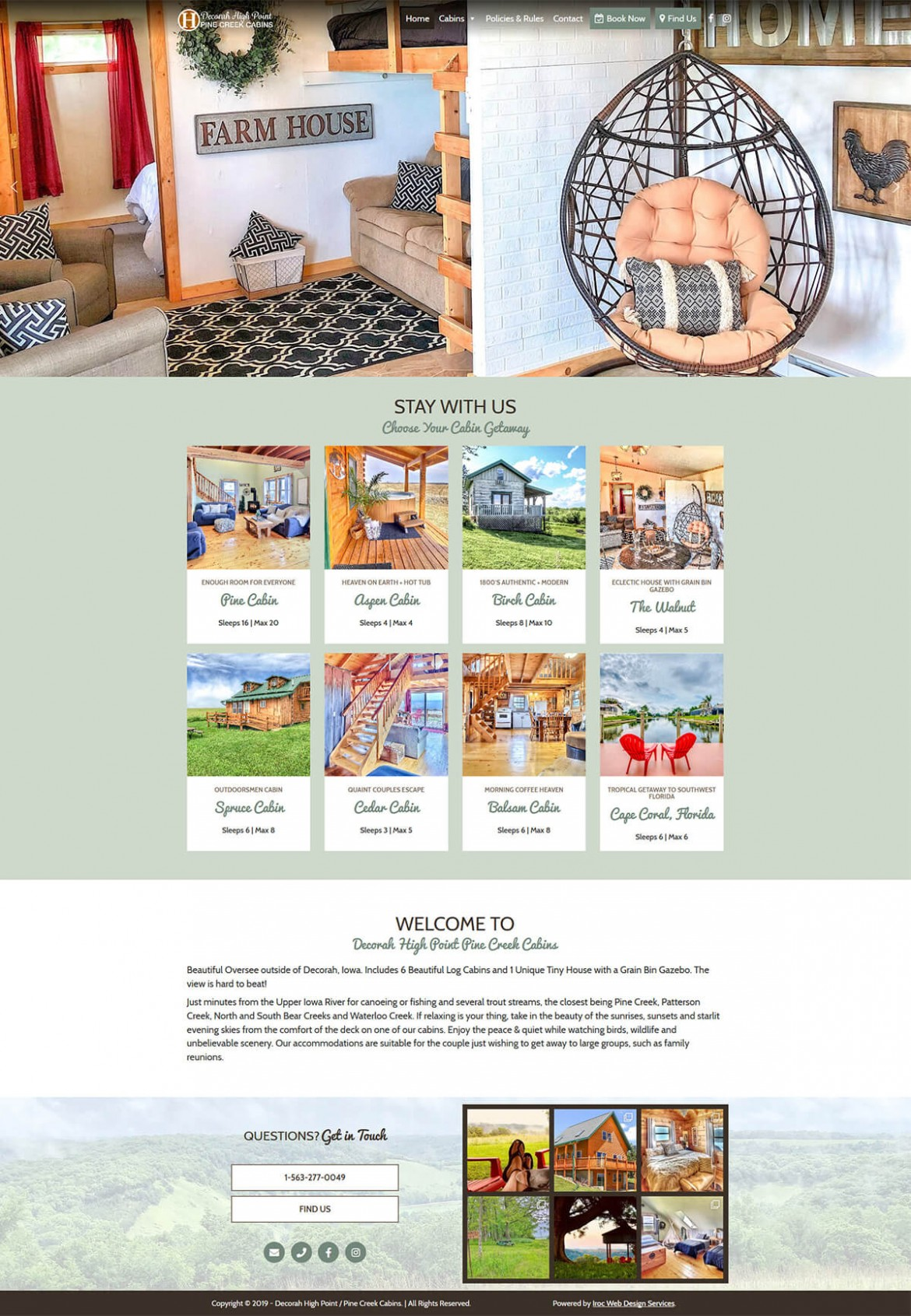 Decorah High Point Cabins Website Home Page