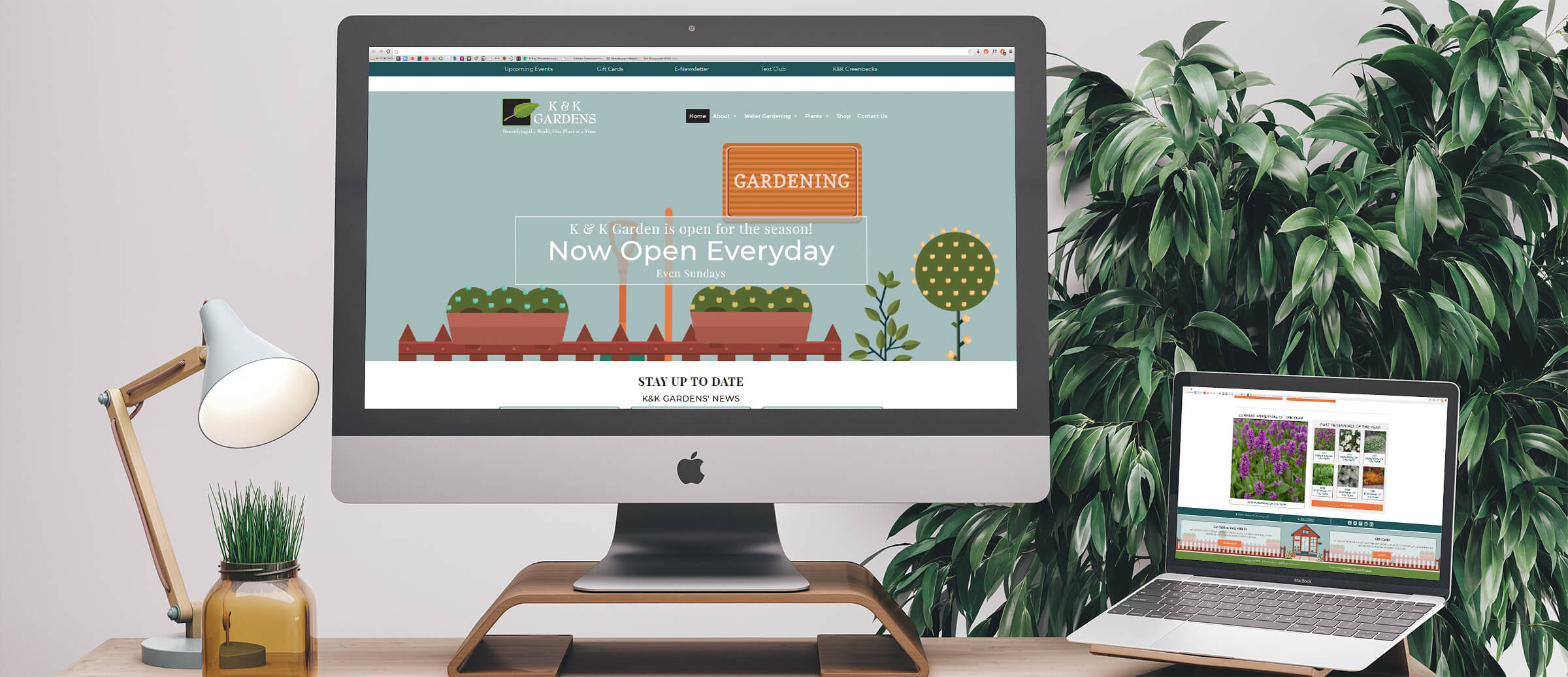 K&K Gardens' website on computer and laptop