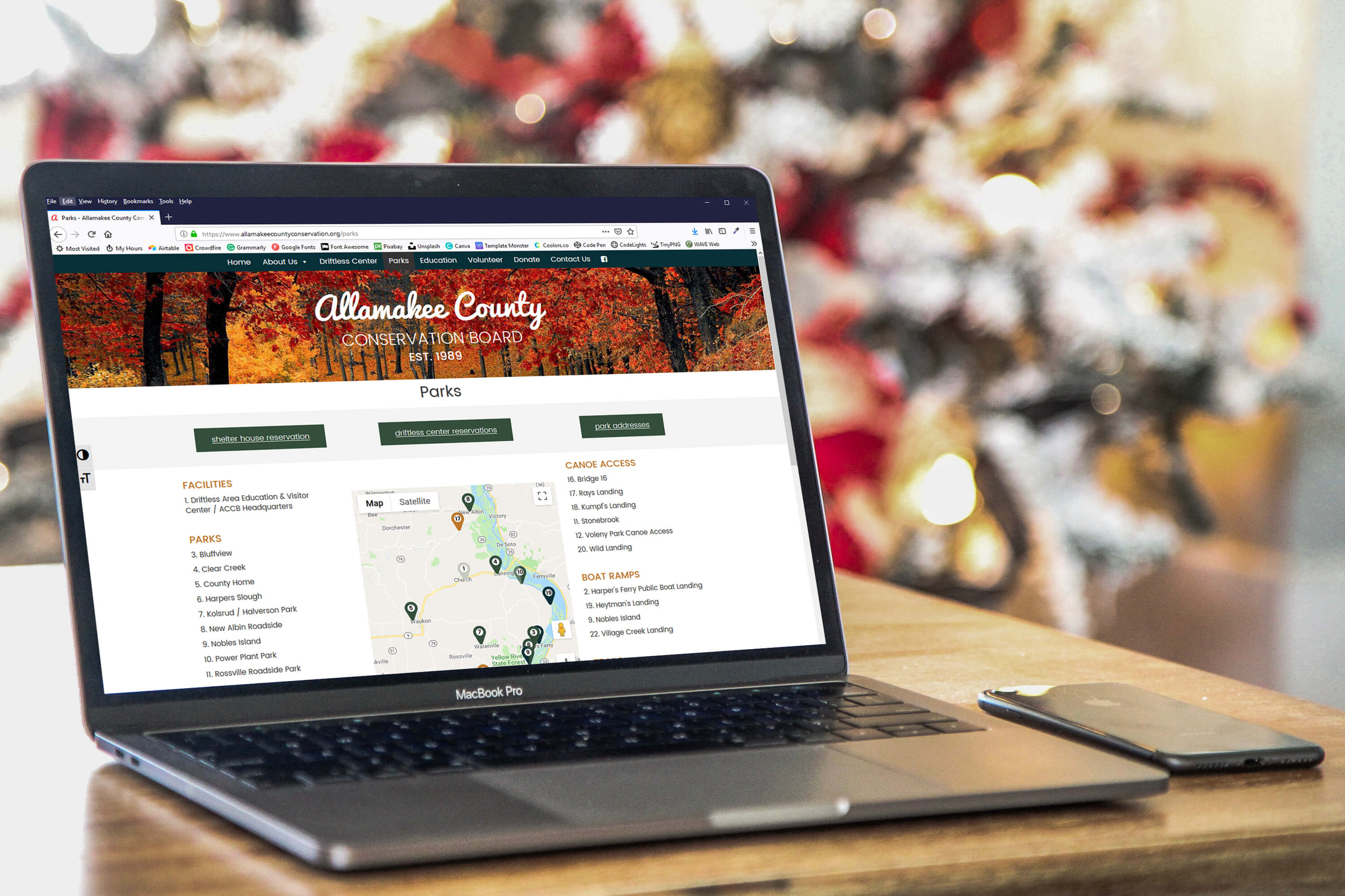 Allamakee County Conservation Board's website on laptop
