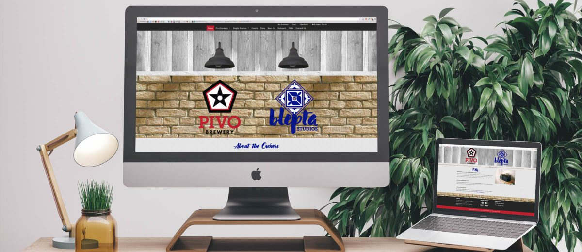 Pivo Brewery & Blepta Studio's website on computer and laptop