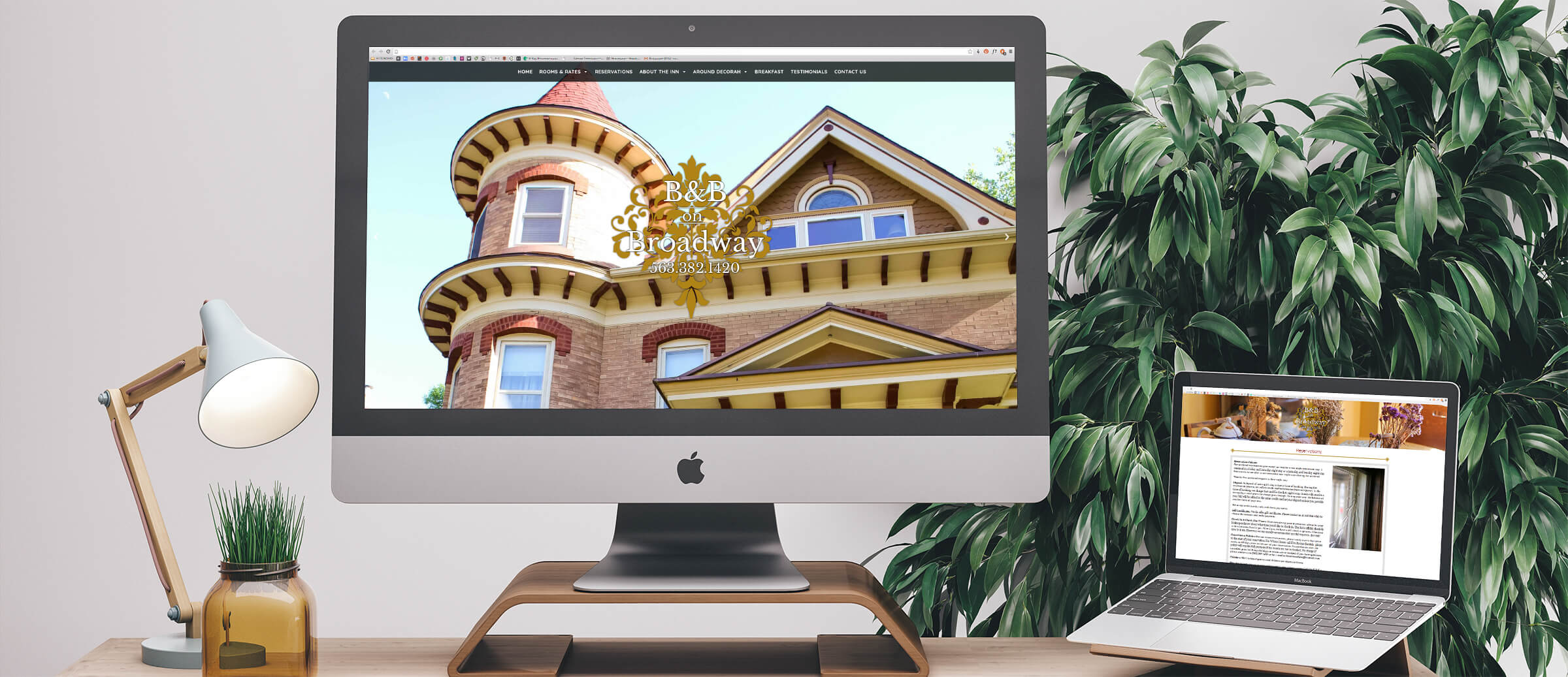 B&B on Broadway's website on computer and laptop