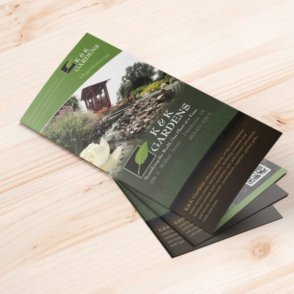 K&K Gardens brochures on wood table