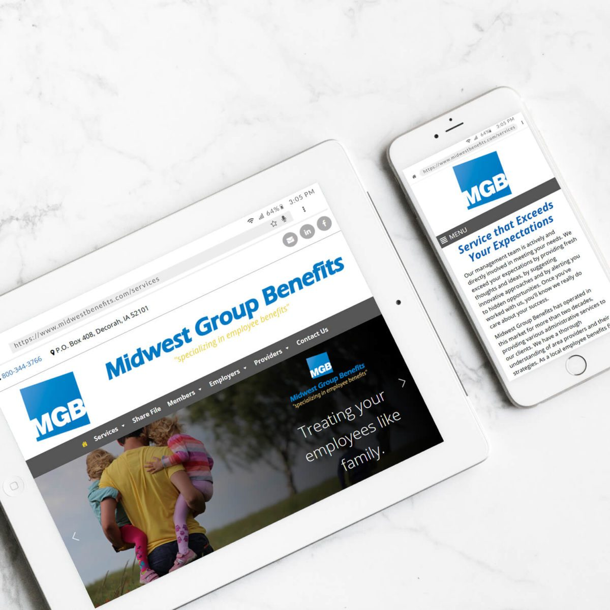 Midwest Group Benefits' website on mobile devices