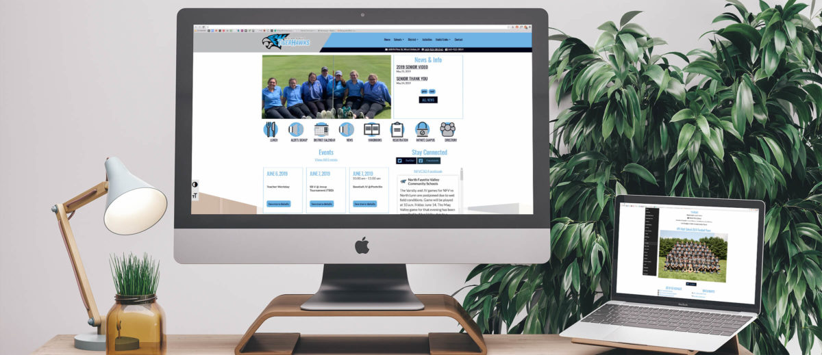 NFV Schools' website on computer and laptop