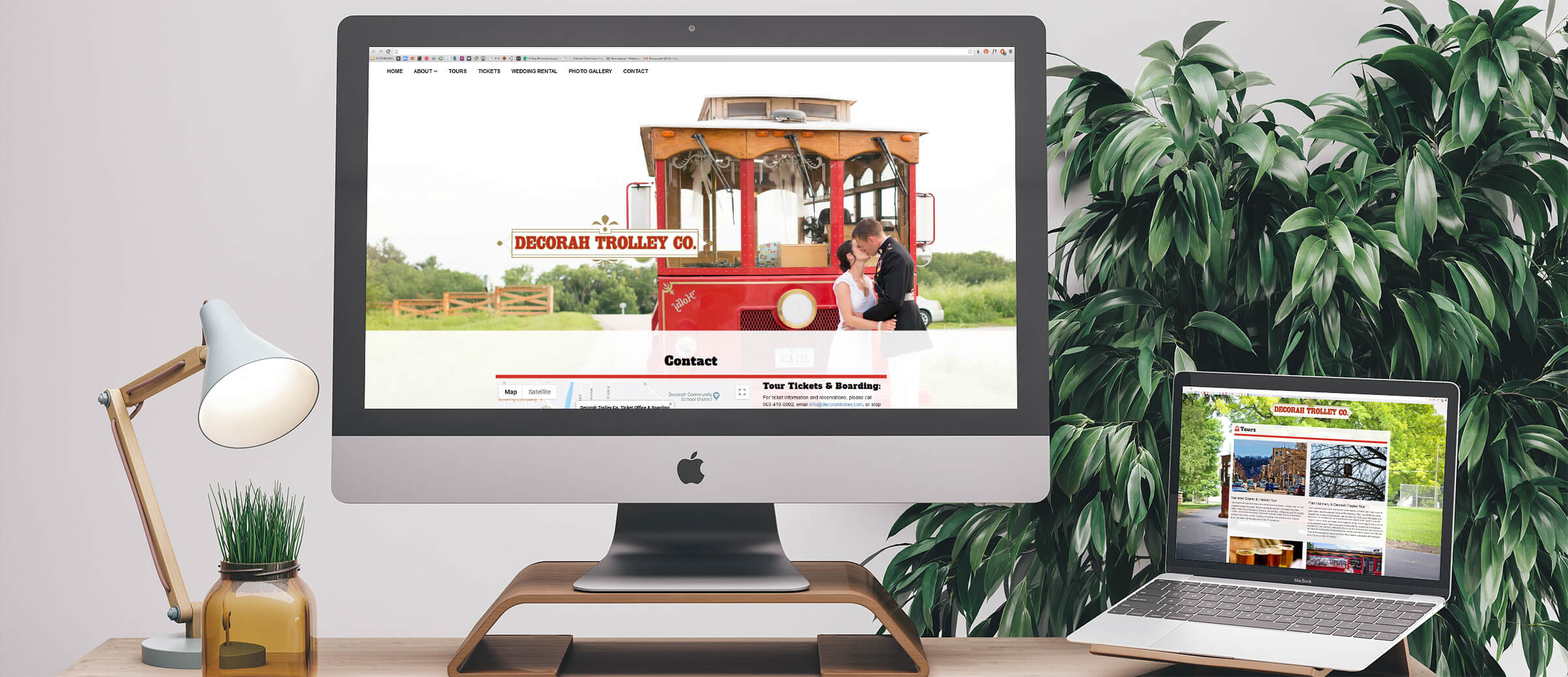 Decorah Trolley's website on computer and laptop