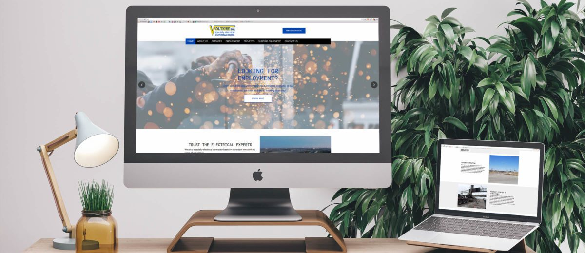 Voltmer Electric's website on computer and laptop