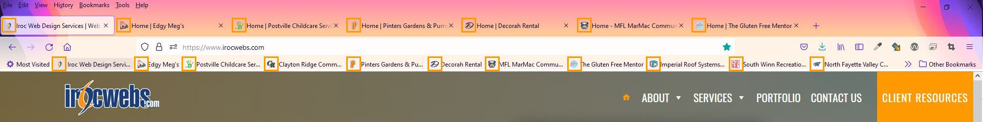 Example of favicons in Firefox browser window