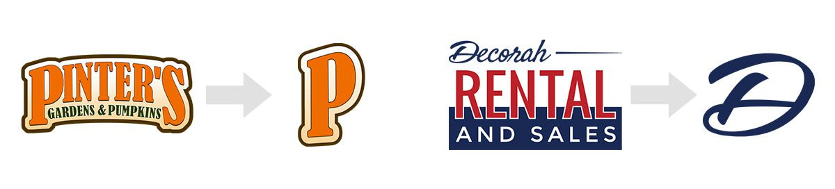 Pinter's Gardens & Pumpkins & Decorah Rental's Logo as compared to their favicon