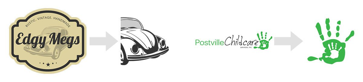 Edgy Megs & Postville Childcare's Logo as compared to their favicon