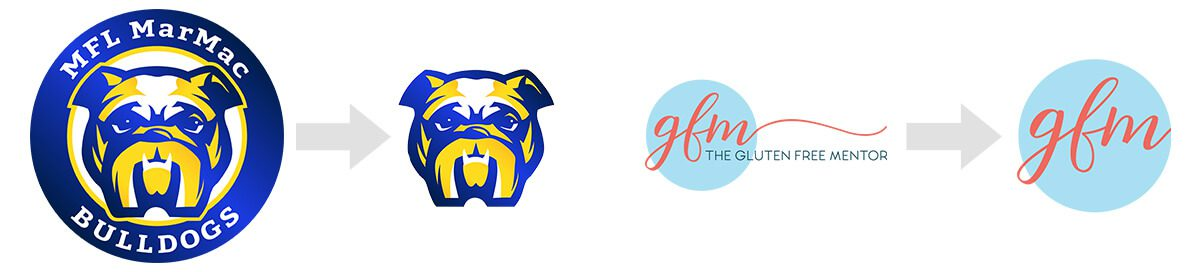 MFL MarMac Bulldogs and The Gluten Free Mentor's logo as compared to their favicon